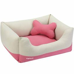 Blueberry Pet Dog Bed Small Canvas Bed Baby Pink&Beige Heavy
