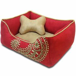 Blueberry Pet Dog Bed Small Microsuede Bed Paisley Tango Red