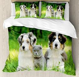 Ambesonne Dog Duvet Cover Set Queen Size, Cute Pets Puppy Fa