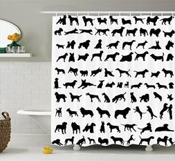 Ambesonne Dog Lover Decor Collection, Silhouettes of Differe