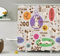 Ambesonne Dog Lover Decor Collection, Funny Pattern with Car