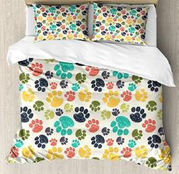 Ambesonne Dog Lover Duvet Cover Set Queen Size, Cute Hand Dr