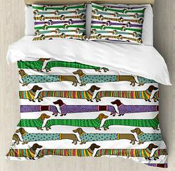 Dog Lover Duvet Cover Set with Pillow Shams Dachshunds in Cl