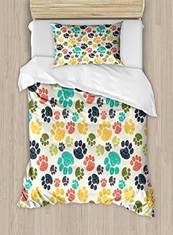 Ambesonne Dog Lover Duvet Cover Set Twin Size, Cute Hand Dra