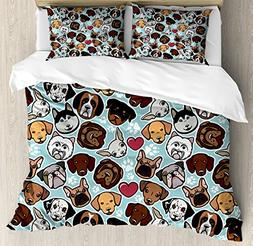Ambesonne Dog Lover Duvet Cover Set Queen Size, Canine Breed