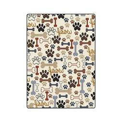 InterestPrint Dog Paw All Seasons Couch Blanket Travelling C