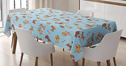 Ambesonne Dog Tablecloth, Checkered Square Pattern Backgroun