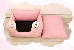 E48 Pink Washable Warmth Soft Mat Pet Dog Cat Supplies Bed H