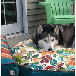 Extra Large Green Jungle Floral Pattern Dog Bed Colorful Flo