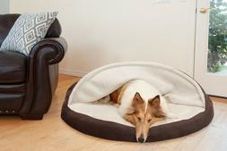 FurHaven Faux Sheepskin Snuggery Dog Cave Bed Pet Bed