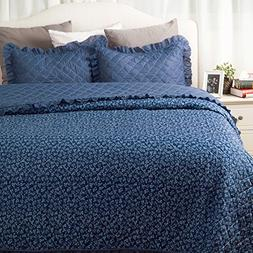 Flowers Quilts Diamond Stitching Coverlet Set Full/Queen Siz