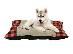 "Fluffy Red Plaid Time 27"" x 36"" Tufted Plush Pet Dog Puppy B"