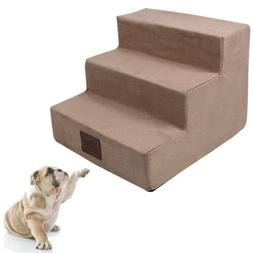 IRQ Foam 3 steps Pet Dog Stairs to get on High Bed for Small