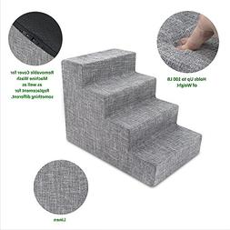 Best Pet Supplies Foam Pet Stairs 4-Step - Gray Linen, Mediu