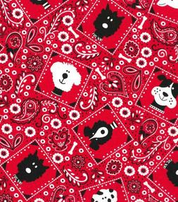 """Framed Dogs on Red Bandana Cotton Fabric Fat Quarter 18"""" x 2"""