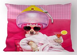 Ambesonne Funny Pillow Sham, Chihuahua Dog Relaxing and Lyin