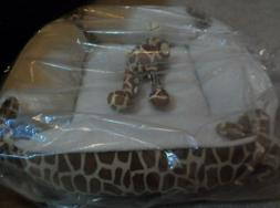 giraffe animal print dog pet bed soft