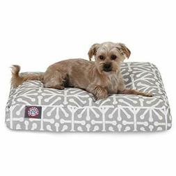 Gray Aruba Small Rectangle Indoor Outdoor Pet Dog Bed With R