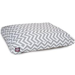 Gray Chevron Medium Rectangle Indoor Outdoor Pet Dog Bed Wit