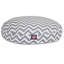 Gray Chevron Large Round Indoor Outdoor Pet Dog Bed With Rem