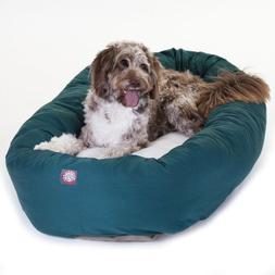 52 inch Green & Sherpa Bagel Dog Bed By Majestic Pet Product