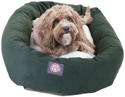 32 inch Green & Sherpa Bagel Dog Bed By Majestic Pet Product