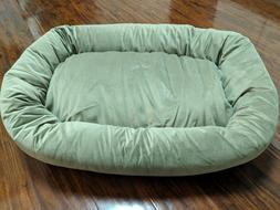 Majestic Pet Green Suede Bagel Bed Ultra Soft Sherpa Nesting