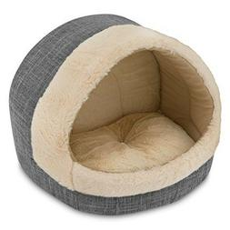 Grey Cat Cave Medium Plush Tent Bed for Pets Cozy House for