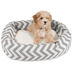 24 inch Grey Chevron Sherpa Bagel Dog Bed