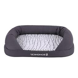 SONGMICS Grey Dog Bed Orthopedic Plush Cuddler Medium Size P