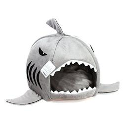 Grey Shark Bed for Small Cat Dog Cave Bed Removable Cushion,