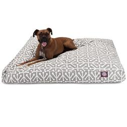 N2 Medium Grey White Geometric Pattern Dog Bed, Gray Modern