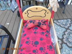 HANDMADE DOG BED MED. SIZE  WITH HANDMADE PILLOWS  WOOD FRAM