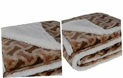 HappyCare Textiles Printed Dog paw Flannel Reverse to Sherpa