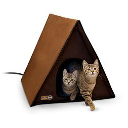 K&H Pet Products Outdoor Heated Multi-Kitty A-Frame Chocolat