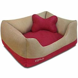 Heavy Duty Microsuede Overstuffed Bolster Dog Bed, Removable