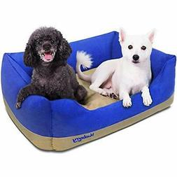 Heavy Duty Microsuede Overstuffed Bolster Lounge Dog Bed, Re