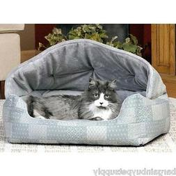 K&H Pet Products Hooded Lounge Sleeper Pet Bed Teal Patchwor