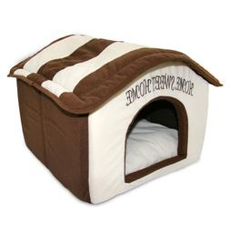 Indoor Dog House Bed Pet Soft Warm Fleece Cushion Pad Washab