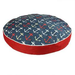 Snoozer Indoor Outdoor Round Dog Bed in Anchor Pattern