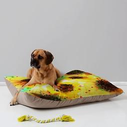Deny Designs Joy Laforme Poppies in Yellow Pet Bed, 40 by 30