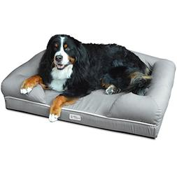 Jumbo Grey Solid Pattern Dog Bed, Memory Foam Cozy Bolsters