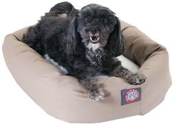 24 inch Khaki & Sherpa Bagel Dog Bed By Majestic Pet Product