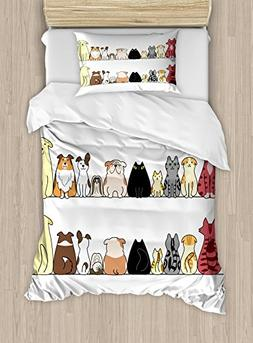 Kids Duvet Cover Set by Ambesonne, Cats and Dogs Collie Cali