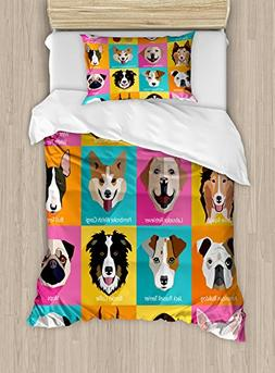Ambesonne Animals Duvet Cover Set Twin Size, Pattern with Do