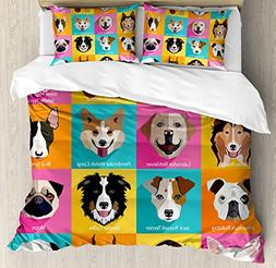 Ambesonne Kids Duvet Cover Set Queen Size, Pattern with Dogs