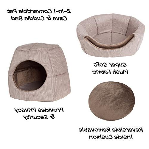 PETMAKER Convertible Bed/Enclosed Cave House Removable Foam and Soft Cover
