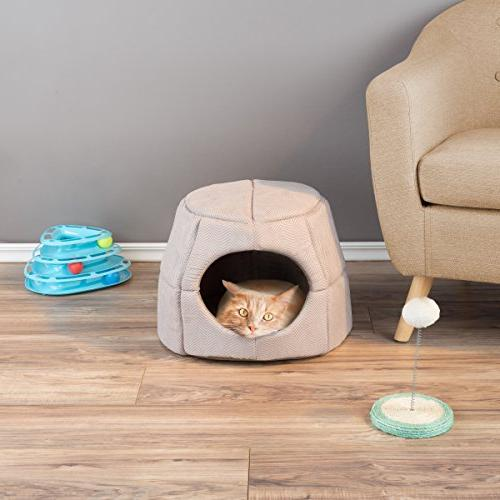 PETMAKER in Convertible Kitten Small Bed/Enclosed Cave with Removable Soft