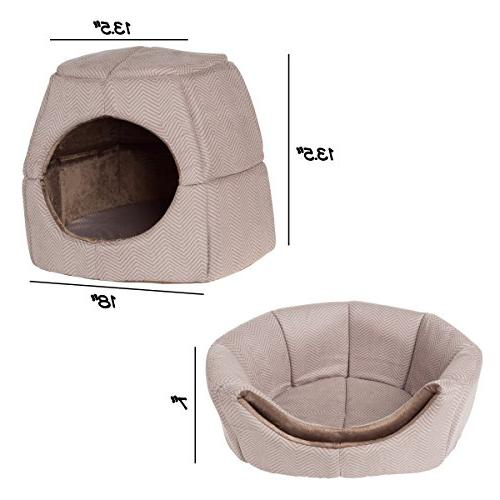 PETMAKER 2 in Convertible Pet Bed- Kitten Small Dog Bed/Enclosed Cave Removable Foam Soft Cover