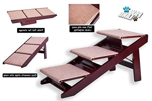 PAWLAND 2-in-1 Folding Pet Stairs for Pet Safety Beside Ramp,Dog Pet Step